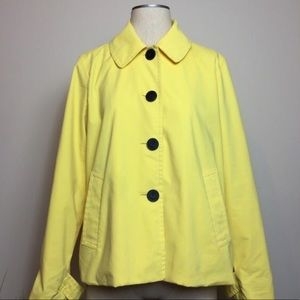 CHAPS Ralph Lauren Yellow Cropped Twill Peacoat-L
